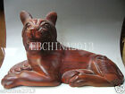 15'' Chinese culture and art pure hand-carved wooden big dog statues
