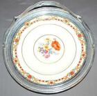 10.5 INCH HANDLED PLATTER KROME-KRAFT FARBER BROS NEW YORK FLORAL DESIGN