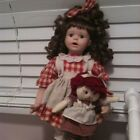 Vintage Beautiful Raggedy Ann Porcelain Doll Holding Cloth Doll