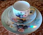 VINTAGE D & B Germany PORCELAIN TRIO-CUP-SAUCER-PLATE-BLACKBERRY-HAND PAINTED