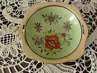 Vntg Small Green Bowl Orange Luster Edge Floral Motif Hand Painted Japan (#512)
