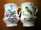 2  ROYAL WINDSOR Fine Bone China ENGLAND Cups BLUE BIRD & YELLOW GREEN  Gold Rim