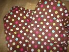 POTTERY BARN KIDS CRIB SHEET BROWN PINK AQUA POLKA DOT 1/2 DOTS 100% COTTON BABY
