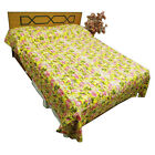 100% Cotton Quilt Yellow Floral Pattern Queen Size Gudri Ethnic Bedspread India