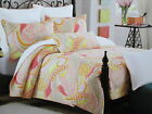 New Cynthia Rowley Full/Queen Quilt 88x92 - Orange, Yellow, Taupe, Coral Paisley