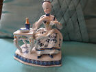 VINTAGE KPM FIGURINE VICTORIAN LADY SEATED AT TABLE,  EXCELLENT