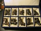 VINTAGE 10 PIECE ORIENTAL ASIAN HANDCARVED WOODEN ANIMAL FIGURINES- BOXED-RARE