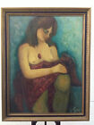 Nude shy girl vintage original oil painting on canvas and frame by Faye 1968