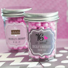 50 Personalized Mini Mason Candy Jar Quinceanera Sweet 15 or 16 Party Favor