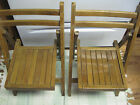 pair Vintage Child's Wooden Wood Folding Chair Slatted Seat Dolls  Circa 60's