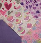 Quilting Soft Snuggle Flannel Squares 40 pk 5 Sq Heart Cupcake Glitter Quilt