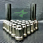 20 BLACK CHROME MUSTANG LUG NUTS  6 SPLINE TUNER  1 2 20  + KEY