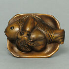 Boxwood Netsuke FISH & OCTOPUS Figurine WN115