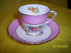 CHELSEA DEMITASSE TEA CUP AND SAUCER PINK AND FLORAL ROSES MADE IN ENGLAND