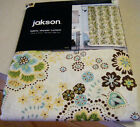 JAKSON LOVELY FLORAL SHOWER CURTAIN CHOCOLATE BROWN AQUA IVORY LIME GREEN NEW