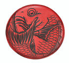 Vintage Japanese Fish Platter - Lucky Red & Black Carved Koi Plate - Art Decor