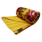 Indian Kantha Quilt Floral Yellow Queen Size Handmade Reversible Bedspread Throw