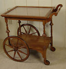 Antique Oak Tea Cart with removable glass tray
