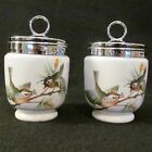 Pair of Double Egg Coddlers Royal Worcester Fine Porcelain England w/Birds 958