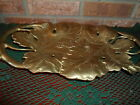VTG HEAVY SOLID BRASS OVAL 4 FOOTED DOUBLE GRAPE LEAF SERVING BOWL 15