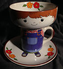VINTAGE CHILDRENS DISH SET INTERPUR 3PC FARMER BOY STACKING PLATE MUG BOWL BOX