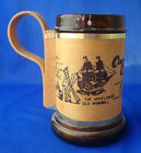 vintage Cape Cod MA glass & wood stein cup mug souvenir 12 ounce