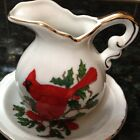 Lefton China Hand Painted Pitcher w/ Plate Red Cardinal Christmas Decor Japan