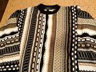 Men's 90's Cosby Ugly Sweater Not Coogi L Large Hipster Black Tan White Warm