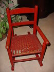 Vintage 1930's Red Wooden Child's Rocking Chair with Woven Seat  22