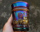 NORTHWOOD ELECTRIC PURPLE PEACOCK AT THE FOUNTAIN CARNIVAL GLASS TUMBLER