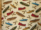 Kayaks Canoes Print end of bolt cotton fabric HALF YARD Read Full Listing Info