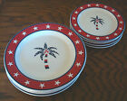Sonoma LIFEstyles patriotic red white & blue stars palm tree dinner salad plate