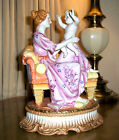 ANTIQUE1888 RARE DRESDEN R.KLEMM MOTHER SON LOUNGE CHAIR LG.PORCELAIN EXQUISITE!