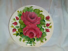 GIBSON ART ORIGINAL DECORATIVE PLATE FLORAL RED ROSES