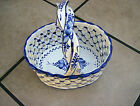 Pottery Signed Reel Made/Portugal Blue & White Basket Weave #406-A Hand Painted