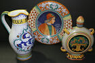 lot of (3) Deruta Made in Italy art pottery pieces pitcher/plate/decanter NICE