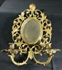 Cast Brass Mirror & Candles Wall Sconce, Heavy, Glo-Mar Art Works, NY - EXC