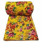 Indian Kantha Quilt Floral Yellow Queen Size Cotton Reversible Bedspread Throw