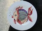 Tabletops Pescada Rust Yellow Purple Green Whimsical Fish White Dinner Plate