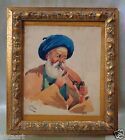 Signed 1950's Persian Watercolor Painting w/ Gold Antique Style Frame 7.5x8.5
