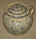Robinson Ransbottom Roseville Ohio Blue Spongeware Stoneware Pot w/ handle/lid