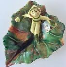 Vintage Art Pottery Pixie Elf On Leaf Dish Drip Glaze Green Yellow Numbered 701