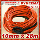 New Dyneema Winch Rope Orange Synthetic 10mm x 28m 4WD Recovery Offroad Kit Warn