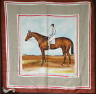SUPERSALE Vintage Celine Runway Silk Scarf with Horse and Jockey Classic Pose
