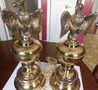 Vintage Brass  American Eagle Lamps With No Shades one Pair (2) Antique