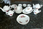 Vintage Child's China Tea Toy Set Moss Rose, Japan, Porcelin Dishes 26 pieces