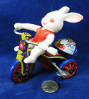 VINTAGE TIN WIND UP Bunny RABBIT ON TRICYCLE TOY KOREA Happy Easter
