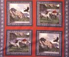 Patriotic Fabric Pillow Panel Wild Horses Red Blue Quilt Starter Wall Hanging