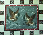 Patriotic Fabric Panel Flying Eagle Red White Blue Quilt Starter Wall Hanging