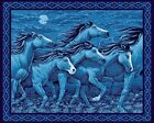 Horse Fabric Panel Wall Hanging Panel Blue Midnight Thunder Ridge Horses Lover